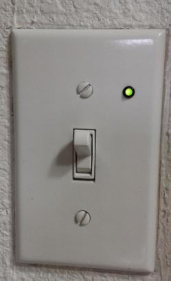 110v switch with small, integrated, aftermarket pilot light